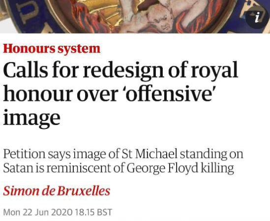 The medal for the Most Distinguished Order of Saint Michael and Saint George is racist