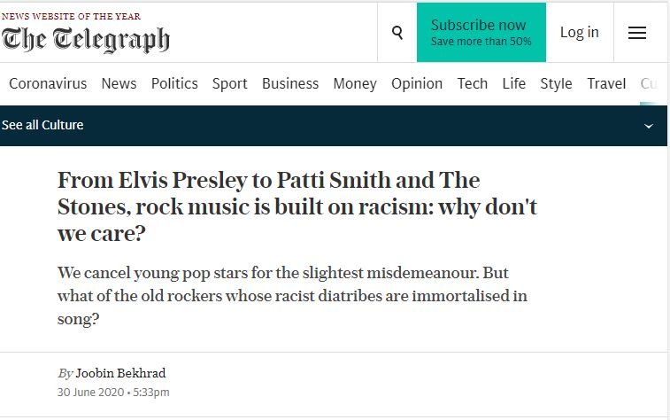 rock  music is racist