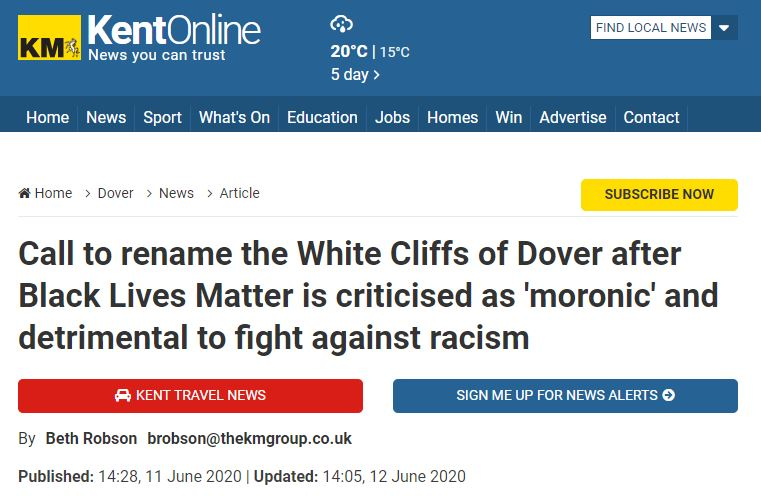 the white cliff of dover is racist